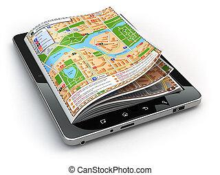 mapa, tabliczka, concept., screen., pc, nawigacja, przewodnik, gps