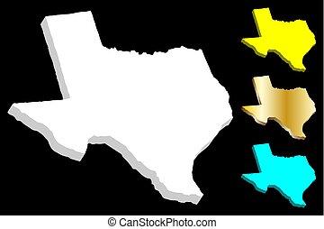 mapa, texas, 3d