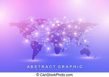 mapa, tworzenie sieci, sieć, cielna, concept., globalny, tło, sztuczny, dane, maszyna, communication., wektor, connections., nauka, inteligencja, świat, technologia, szablon