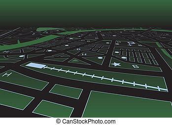 mapa, ulica, zielony