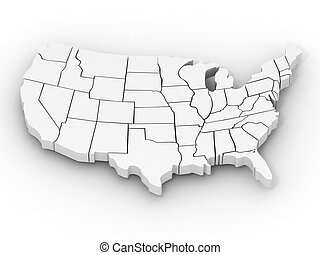 mapa, usa