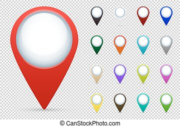 mapa, wektor, komplet, wskazówki