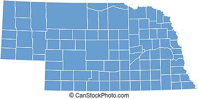 mapa, wektor, nebraska