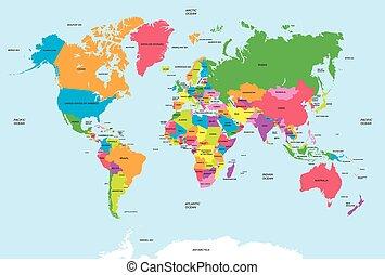 mapa, wektor, polityczny, świat