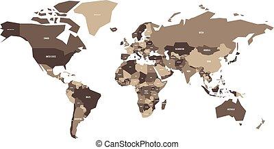 mapa, wektor, polityczny, uproszczony, world.