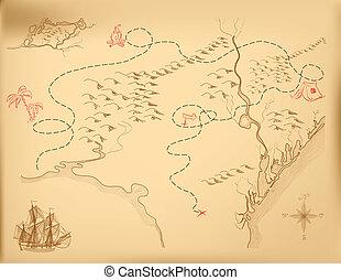 mapa, wektor, stary