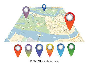 mapa, wektor, wskazówka, szpilka, ikona