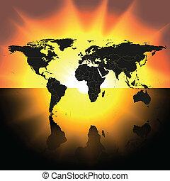 mapa, wektor, zachód słońca, tło, świat