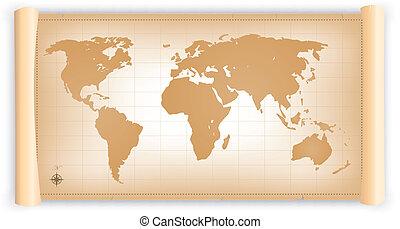 mapa, woluta, pergamin, świat, rocznik wina