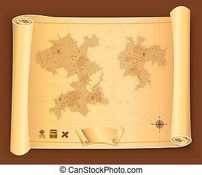 mapa, woluta, pergamin, skarb