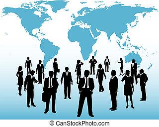 mapa, zajęty, handlowy zaludniają, połączyć, pod świat