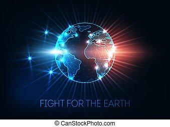 mapa, ziemia, pojęcie, klimat zmiana, globalny, walka, globe., ocieplać, świat