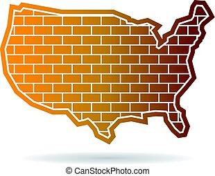 mapa, zjednoczony, ściana, stany, projektować, logo