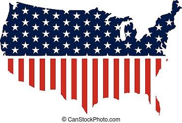 mapa, zjednoczony, graphic., ilustracja, stany, wektor, projektować, patriotyczny