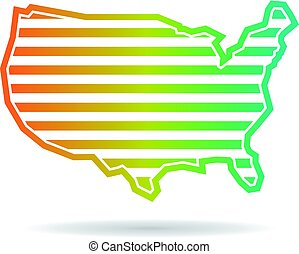mapa, zjednoczony, pasy, stany, projektować, logo, poziomy