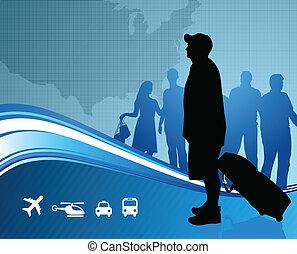 mapa, zjednoczony, podróżnicy, stany