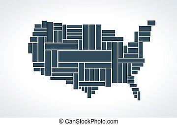 mapa, zjednoczony, rectangles., ilustracja, stany, wektor, robiony
