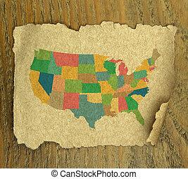 mapa, zjednoczony, rocznik wina, struktura, stany, papier