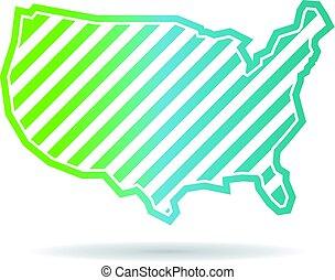 mapa, zjednoczony, skośny, pasy, stany, projektować, logo