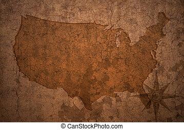 mapa, zjednoczony, stary, rocznik wina, stany, papier, tło, trzaskać, ameryka