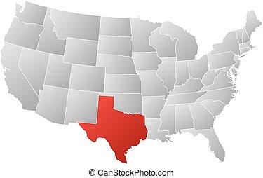 mapa, zjednoczony, -, texas, stany