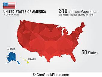 mapa, zjednoczony, usa, stan, pixel, america., daimond, ziemia, texture.