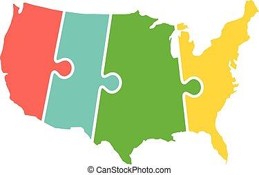 mapa, zjednoczony, zagadka, pasy, stany, czas