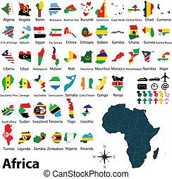 mapy, bandery, afryka
