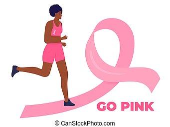 maraton, damski, rak, droga, poparcie, wyścigi, amerykanka, zdrowie, kobieta, wstążka, miesiąc, patients., październik, afrykanin, świadomość, pierś, różowy