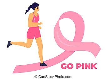 maraton, damski, rak, droga, poparcie, wyścigi, zdrowie, kobieta, wstążka, miesiąc, patients., październik, świadomość, pierś, różowy
