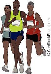 maraton, grupa, biegacze, ilustracja