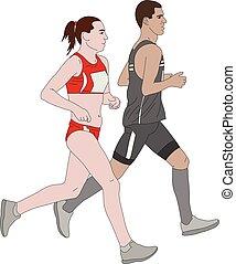 maraton, para, biegacze, ilustracja