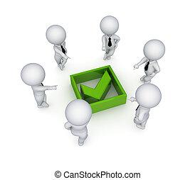 mark., ludzie, tykać, dookoła, zielony, 3d, mały