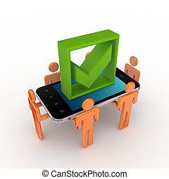 mark., ruchomy, ludzie, telefon, tykać, zielony, 3d, mały