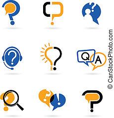 marka, komplet, pytanie, ikony