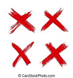 marka, zaprzeczony, x zgromadzenie, czerwony, disapproved, albo