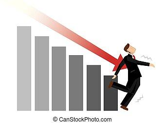 market., metafora, illustration., upadek, strzała, symbolise, kiepski, wektor, times., podczas, biznesmen, spadanie, atak, ekonomia
