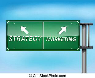 'marketing', 'strategy', znak, połyskujący, tekst, szosa