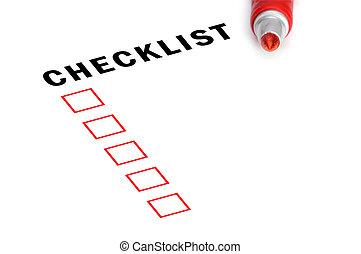 markier, boxes., checklist, czerwony, zaszachowany