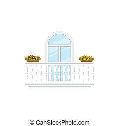 marmur, garnki, kwiat, balkon, ogrodzenia, odizolowany
