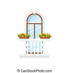 marmur, kolebkowaty, balkon, wejście, balustrada