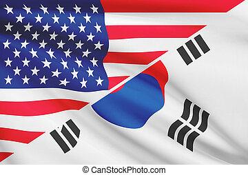 marszczył, usa, seria, korea., flags., południe