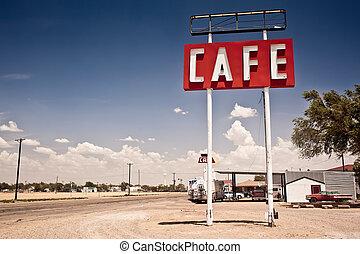marszruta, znak, historyczny, 66, texas., wzdłuż, kawiarnia