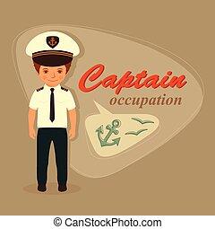 marynarz, rysunek, kapitan