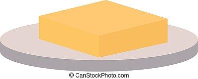 masło, płyta, ilustracja, tło., wektor, biały