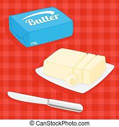 masło, wektor, ilustracja