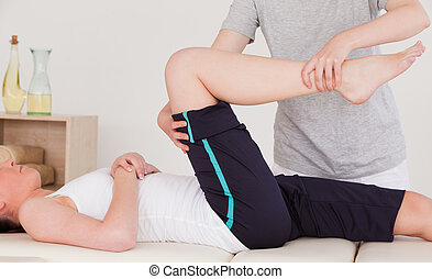 masażystka, noga, rozciąganie, sportowy, kobieta, dobry
