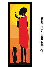 masai, standing-vector, kobieta