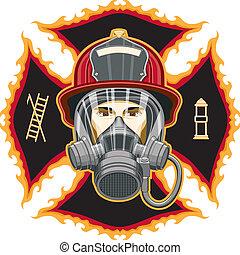 maska, firefighter, krzyż