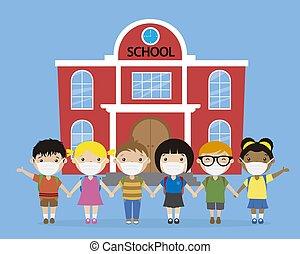 maska, ich, dzieci, przód, school.